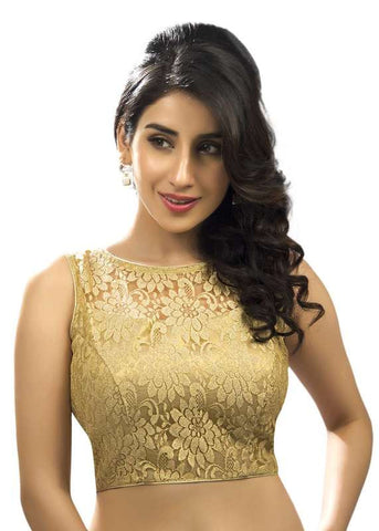 golden Color Net Readymade Function Wear Blouses ( Sizes - 32, 34, 36, 38, 40, 42 ): Samita Collection  YF-39726