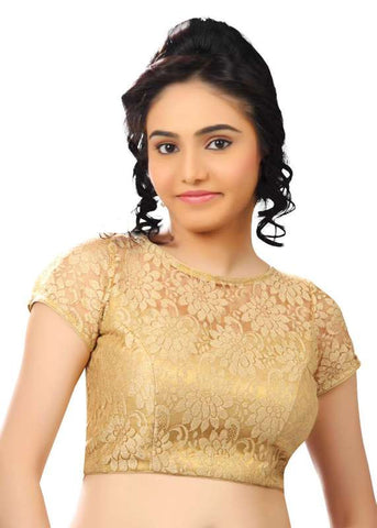 gold Color Net Readymade Function Wear Blouses ( Sizes - 32, 34, 36, 38, 40, 42 ): Samita Collection  YF-39732