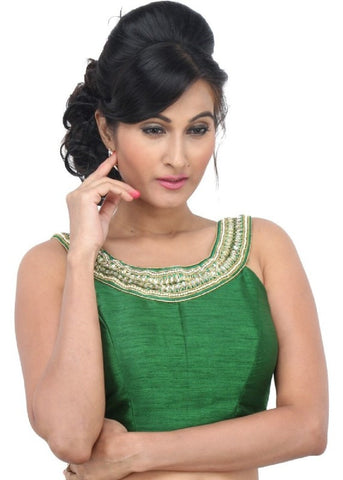 green Color Dupion Silk Readymade Function Wear Blouses ( Sizes - 32, 34, 36, 38, 40, 42 ): Samita Collection  YF-39774