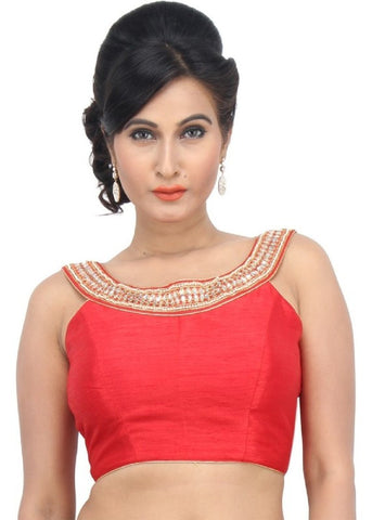 red Color Dupion Silk Readymade Function Wear Blouses ( Sizes - 32, 34, 36, 38, 40, 42 ): Samita Collection  YF-39792