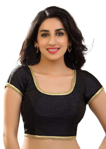 black Color Dupion Silk Readymade Function Wear Blouses ( Sizes - 32, 34, 36, 38, 40, 42 ): Samita Collection  YF-39798