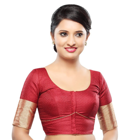 Maroon Color Tissue Readymade Party Wear Blouses (32,34,36,38,40,42): Sanjana Collection  YF-41883