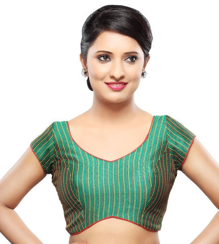 Green Color Tissue Readymade Party Wear Blouses (32,34,36,38,40,42): Sanjana Collection  YF-41913