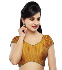 Mustard Color Tissue Readymade Party Wear Blouses (32,34,36,38,40,42): Sanjana Collection  YF-41919