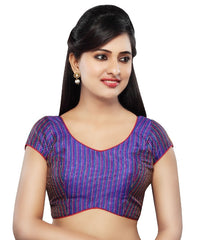 Royal Blue Color Tissue Readymade Party Wear Blouses (32,34,36,38,40,42): Sanjana Collection  YF-41937