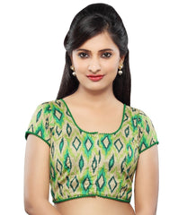 Green Color Dupion Silk Readymade Party Wear Blouses (32,34,36,38,40,42): Sanjana Collection  YF-41973