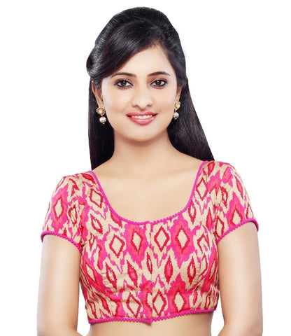 Pink Color Dupion Silk Readymade Party Wear Blouses (32,34,36,38,40,42): Sanjana Collection  YF-41985