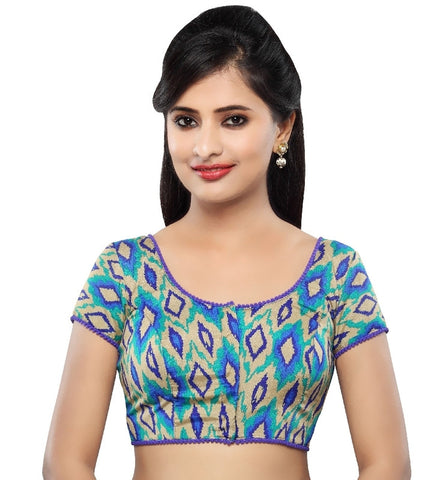 Royal Blue Color Dupion Silk Readymade Party Wear Blouses (32,34,36,38,40,42): Sanjana Collection  YF-41991