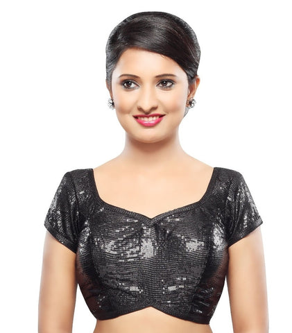 Black Color Silk Readymade Party Wear Blouses (32,34,36,38,40,42): Sanjana Collection  YF-41997