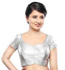 Silver Color Silk Readymade Party Wear Blouses (32,34,36,38,40,42): Sanjana Collection  YF-42009