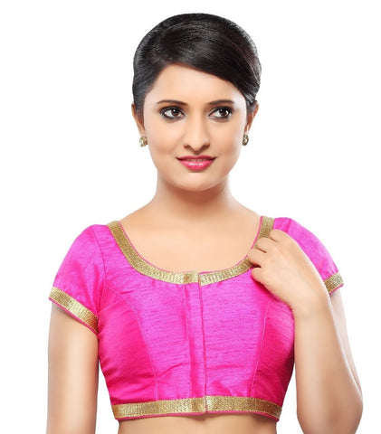 Pink Color Dupion Silk Readymade Party Wear Blouses (32,34,36,38,40,42): Sanjana Collection  YF-42039