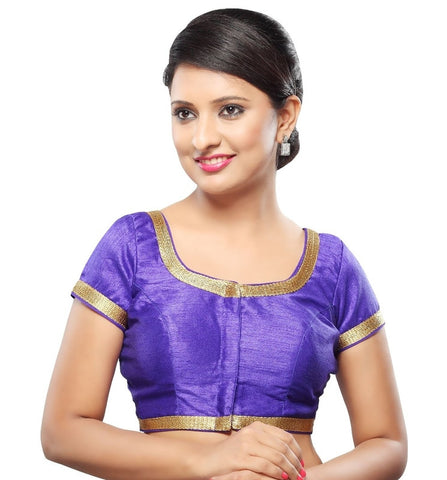 Royal Blue Color Dupion Silk Readymade Party Wear Blouses (32,34,36,38,40,42): Sanjana Collection  YF-42051