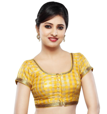 Yellow Color Dupion Silk Readymade Party Wear Blouses (32,34,36,38,40,42): Sanjana Collection  YF-42087