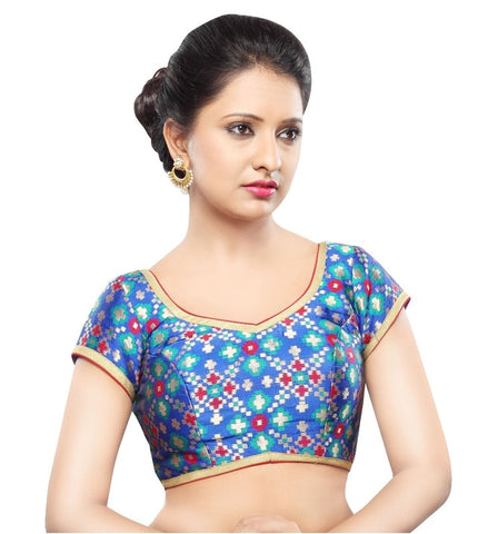 Blue Color Georgette Readymade Party Wear Blouses (32,34,36,38,40,42): Sanjana Collection  YF-42111
