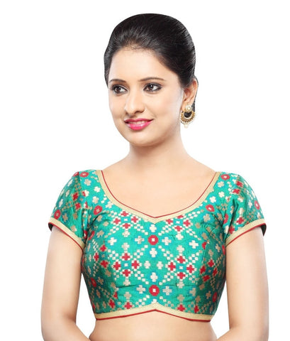 Green Color Georgette Readymade Party Wear Blouses (32,34,36,38,40,42): Sanjana Collection  YF-42117