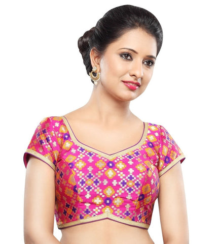 Pink Color Georgette Readymade Party Wear Blouses (32,34,36,38,40,42): Sanjana Collection  YF-42123