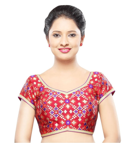 Red Color Georgette Readymade Party Wear Blouses (32,34,36,38,40,42): Sanjana Collection  YF-42129