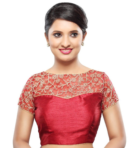 Maroon Color Net Readymade Party Wear Blouses (32,34,36,38,40,42): Sanjana Collection  YF-42147