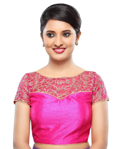 Pink Color Net Readymade Party Wear Blouses (32,34,36,38,40,42): Sanjana Collection  YF-42153
