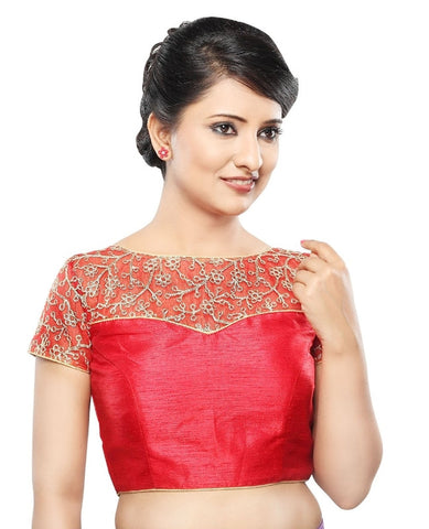 Red Color Net Readymade Party Wear Blouses (32,34,36,38,40,42): Sanjana Collection  YF-42159