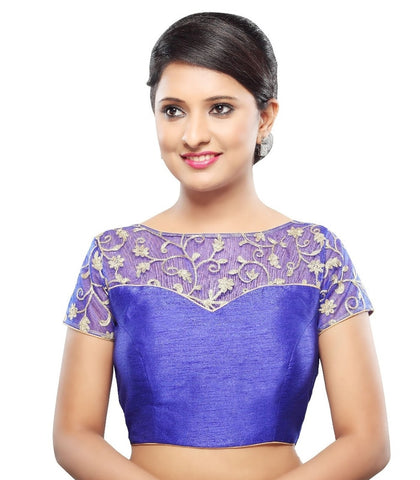 Royal Blue Color Net Readymade Party Wear Blouses (32,34,36,38,40,42): Sanjana Collection  YF-42165