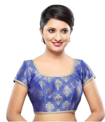 Royal Blue Color Brocade Readymade Party Wear Blouses (32,34,36,38,40,42): Sanjana Collection  YF-42171
