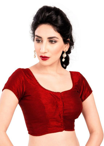 maroon Color Dupion Silk Readymade Function Wear Blouses ( Sizes - 32, 34, 36, 38, 40, 42 ): Samita Collection  YF-39858