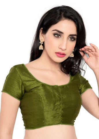 mehendi-green Color Dupion Silk Readymade Function Wear Blouses ( Sizes - 32, 34, 36, 38, 40, 42 ): Samita Collection  YF-39864