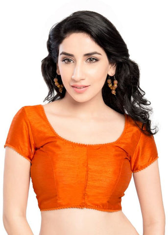orange Color Dupion Silk Readymade Function Wear Blouses ( Sizes - 32, 34, 36, 38, 40, 42 ): Samita Collection  YF-39882