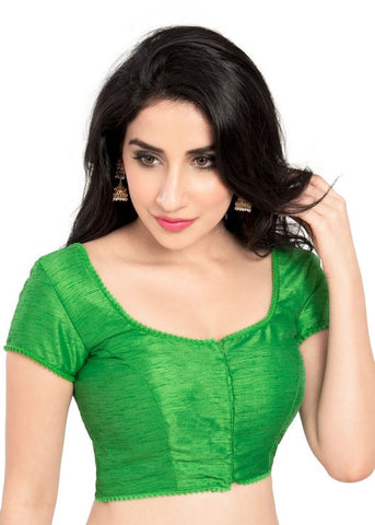 parrot-green Color Dupion Silk Readymade Function Wear Blouses ( Sizes - 32, 34, 36, 38, 40, 42 ): Samita Collection  YF-39888
