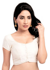 white Color Dupion Silk Readymade Function Wear Blouses ( Sizes - 32, 34, 36, 38, 40, 42 ): Samita Collection  YF-39906