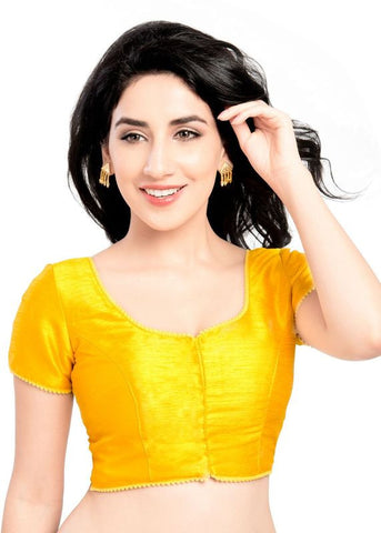 yellow Color Dupion Silk Readymade Function Wear Blouses ( Sizes - 32, 34, 36, 38, 40, 42 ): Samita Collection  YF-39912