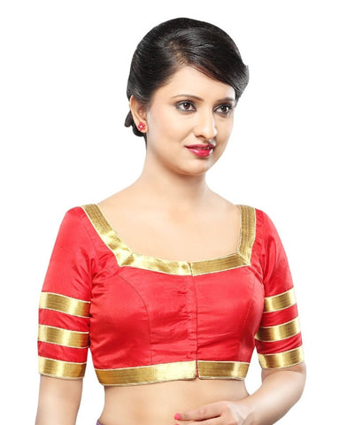 Red Color Silk Readymade Party Wear Blouses (32,34,36,38,40,42): Sanjana Collection  YF-42213