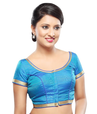 Blue Color Dupion Silk Readymade Party Wear Blouses (32,34,36,38,40,42): Sanjana Collection  YF-42219
