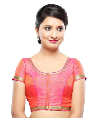 Orange-Pink Color Dupion Silk Readymade Party Wear Blouses (32,34,36,38,40,42): Sanjana Collection  YF-42231