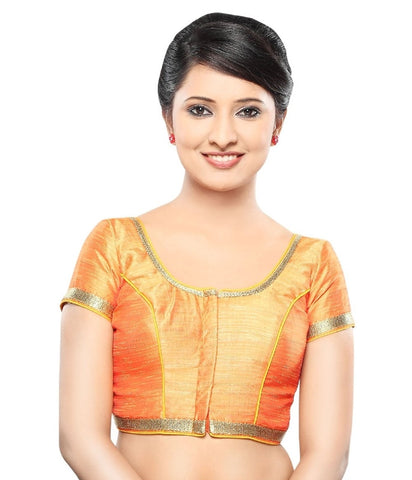 Orange Color Dupion Silk Readymade Party Wear Blouses (32,34,36,38,40,42): Sanjana Collection  YF-42225