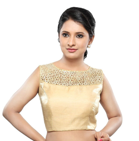Gold Color Tissue Readymade Party Wear Blouses (32,34,36,38,40,42): Sanjana Collection  YF-42237