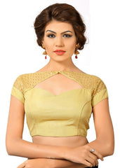 Golden Color Tissue Readymade Party Wear Blouses (32,34,36,38,40,42): Safeena Collection  YF-51763