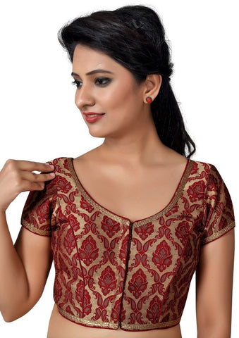 Maroon Color Brocade Readymade Party Wear Blouses (32,34,36,38,40,42,44): Pritvish Collection  YF-53967