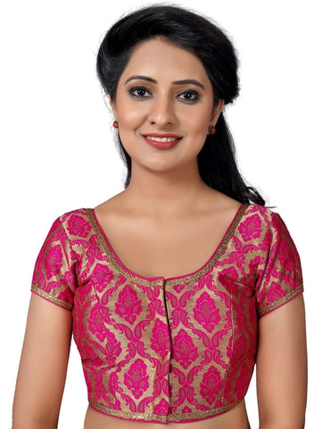 Pink Color Brocade Readymade Party Wear Blouses (32,34,36,38,40,42,44): Pritvish Collection  YF-53974