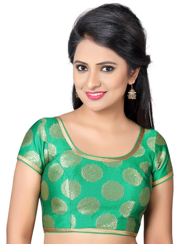 Green Color Brocade Readymade Party Wear Blouses (32,34,36,38,40,42,44): Pritvish Collection  YF-54051