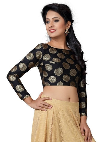 Black Color Raw silk Readymade Party Wear Blouses (32,34,36,38,40,42,44): Vianshi Collection  YF-56563