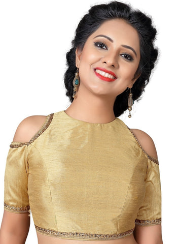 Gold Color Dupion silk Readymade Party Wear Blouses (32,34,36,38,40,42,44): Vianshi Collection  YF-56647