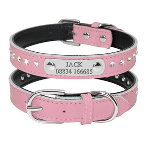 Adjustable Padded Rhinestone Personalized Dogs ID Collar