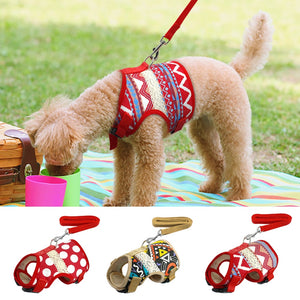 Soft Printed Dog Harness and Leash
