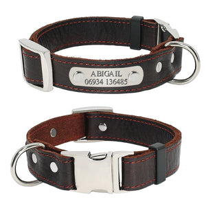 Customized Genuine Leather Collar For Small Medium Dogs