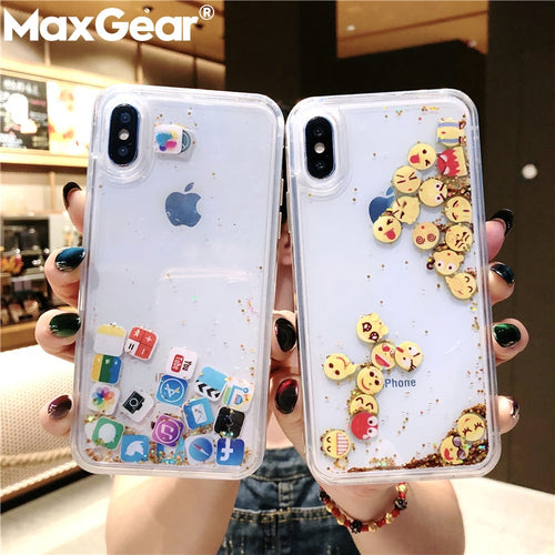 CUTE APPS ICON EMOJI GLITTER QUICKSAND CASE FOR IPHONE