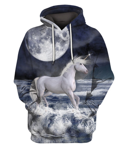 3D All Over Printed Moon Unicorn Clothes