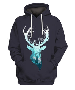 3D All Over Printed Deer Blue Winter Clothes