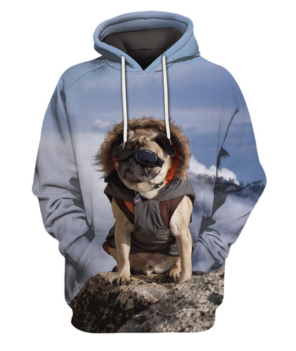 3D All Over Printed Pug In Mountain Clothes